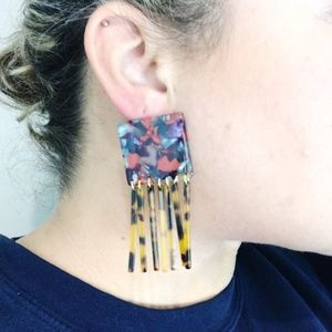 CLOSET REHAB Jewelry - Square Berry Mix Earrings with Tortoise Fringe
